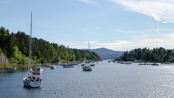 Foto av seilbåter på fjorden en fin sommerdag.