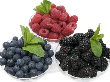 Picture of bowls of blueberries, raspberries and blackberries