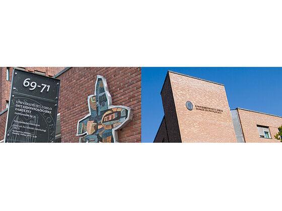 To fotoer satt sammen, til venstre av inngangspartiet til fakultetsbygget i Geitmyrsveien og til høyre av fakultetets bygg på Gaustad.