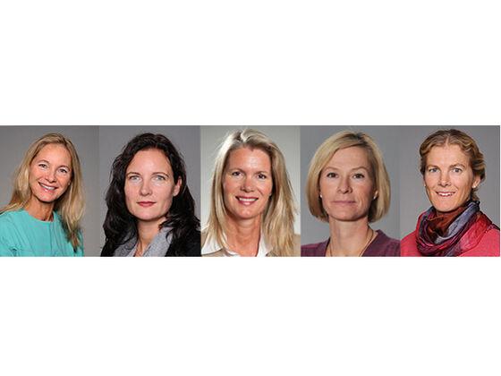 Profilbilder av forskerne, fra venstre, Bente Brokstad Herlofson, Lene Hystad Hove, Janicke Liaaen Jensen, Hilde Kanli Galtun og Alix Young Vik.