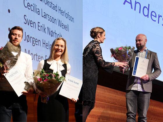To fotoer satt sammen, det til venstre viser to forskere, fra venstre en man og en dame, oppstilt og blide med blomsterbuketter og diplomer, det til høyre viser en forsker som mottar blomsterbukett av presidenten i NTF.