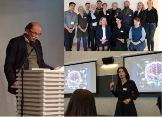 En kolasj av bilder som viser dekan Pål Barvoll fra talerstolen og forsknigsdekan  som forteller om sin forskning og et gruppebilde av noen av deltagerne.
